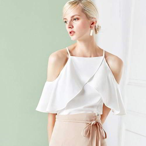 Strapless Pleated Tank Tops RBEEF7 White 6pcs