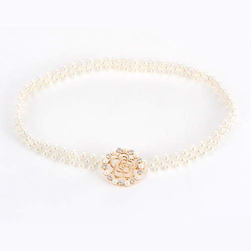 Hollow Out Rose Pearl Belt RBECFB Gold
