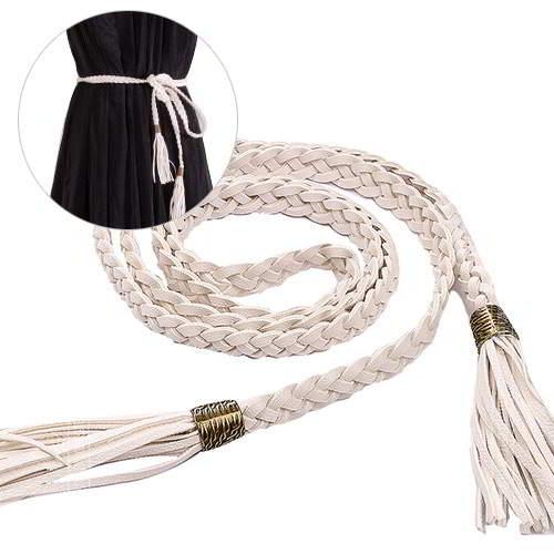 Tassel Decorated Weave Design RABF78 White