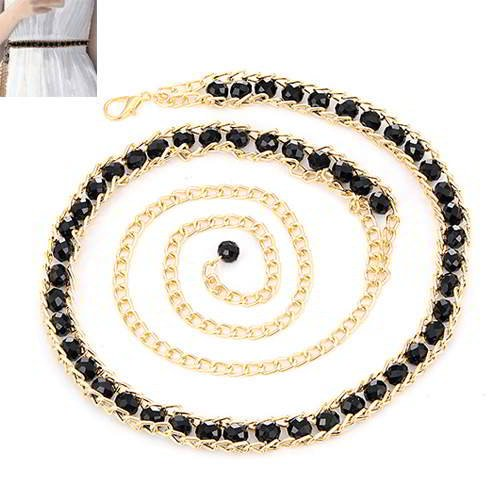 Thin Belts Beads Decorated Chains Weave Design RADAA5 Black
