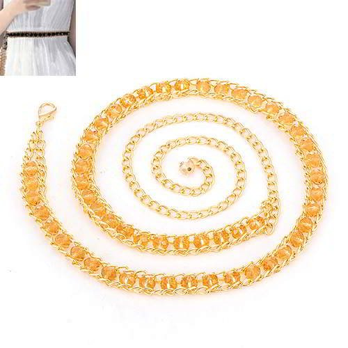 Thin Belts Beads Decorated Chains Weave RADAAC Champagne
