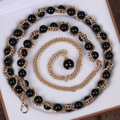 Thin Belts Beads Decorated Chains Weave Design RADAB8 Black