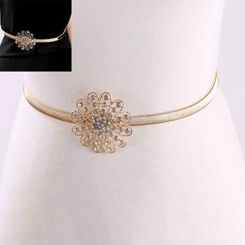 Thin Belts Flower Decorated Simple Design RADABF Gold