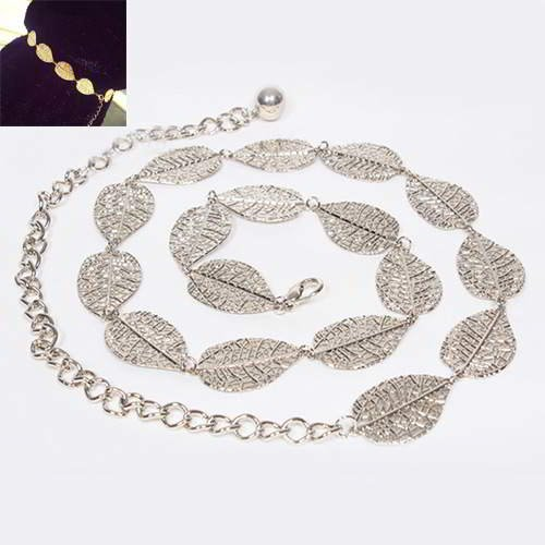 Thin Belts Leaf Decorated Simple Design RADAB5 Silver