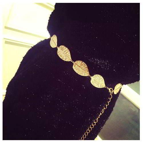 Thin Belts Leaf Decorated Simple Design RADABA Gold