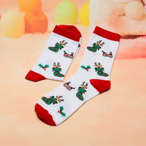 Cartoon Color Sock RC7658 White Red 6pcs