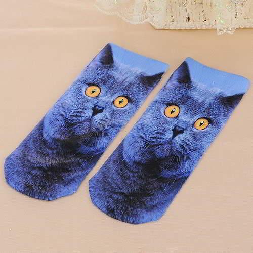 Cats Pattern Decorated 3D Effect Design RA6B6A Blue 6pcs