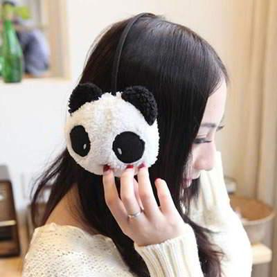 Warmth Panda Plush Earmuffs RFEABB Black And White 6pcs