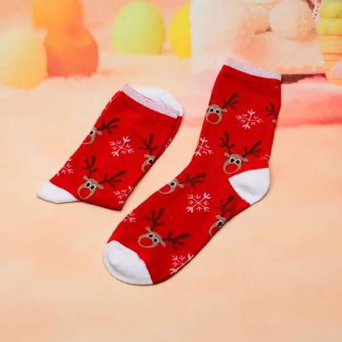 Deer Snowflake Color Sock RC7657 Red White 6pcs