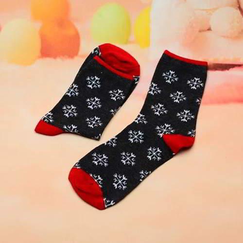 Snowflake Color Sock RC7656 Black Red 6pcs