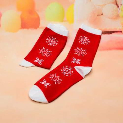 Snowflake Color Sock RC765A Red White 6pcs