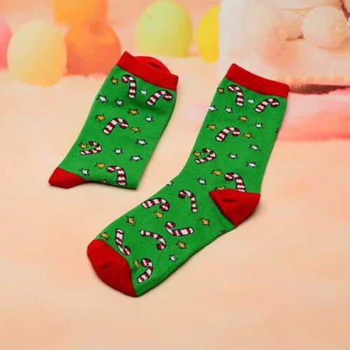 Stars Christmas Stick Sock RC766E Green Red 6pcs
