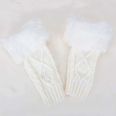 Imitation Cashmere Decorated Fingerless R855A8 White 6pcs