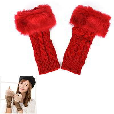 Imitation Cashmere Fingerless Design R855AC Red 6pcs