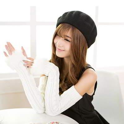 Imitation Cashmere False Sleeves R8555B White 6pcs