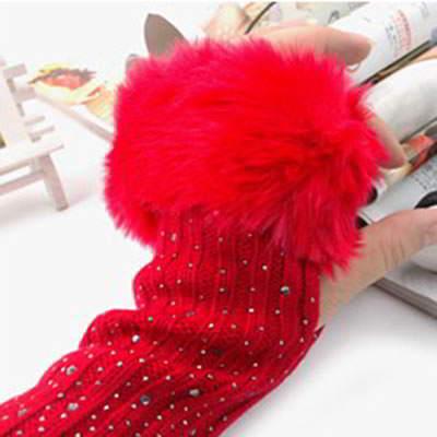 Gloves Fingerless Knitting Wool Fashion RFE7F5 Red 6pcs