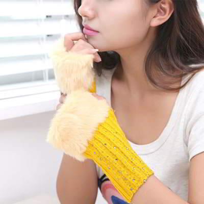 Gloves Fingerless Knitting Wool Fashion RFE7FA Ginger 6pcs