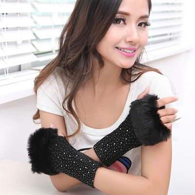 Gloves Fingerless Knitting Wool Fashion RFE7FF Black 6pcs