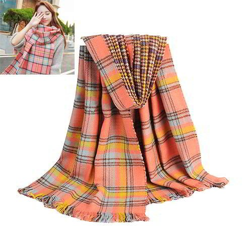 Plover Grids Two Sided Scarf RC8CB7 Multi Color 6pcs