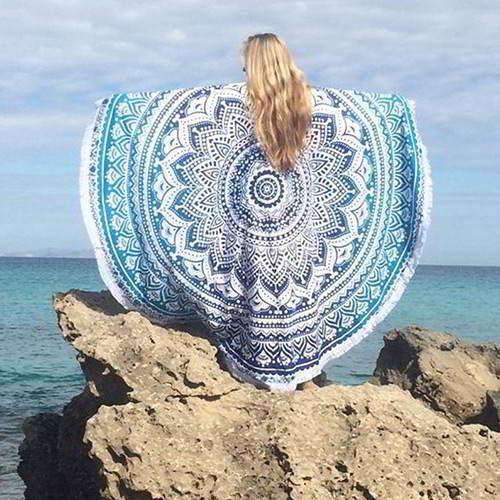 Flowe Tassel Yoga Mat Shawl RC8AF5 Blue 6pcs