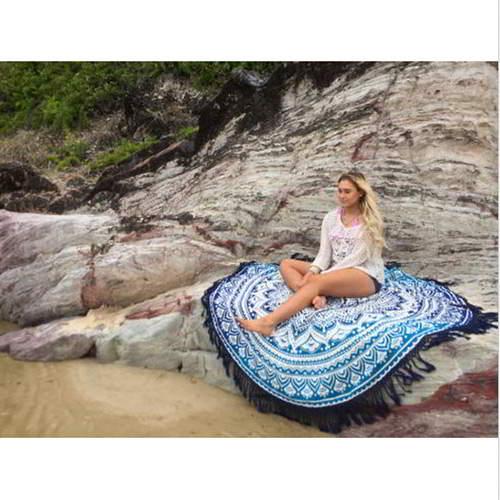 Flower Tassel Yoga Mat Shawl RC8AFE Blue 6pcs
