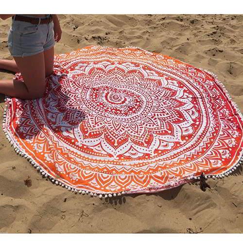 Flower Tassel Yoga Mat Shawl RC8A8B Orange 6pcs