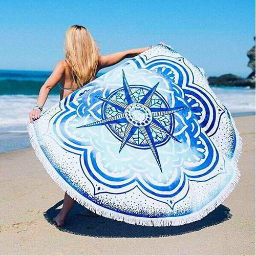 Flower Tassel Yoga Mat Shawl RC8A8C White Blue 6pcs