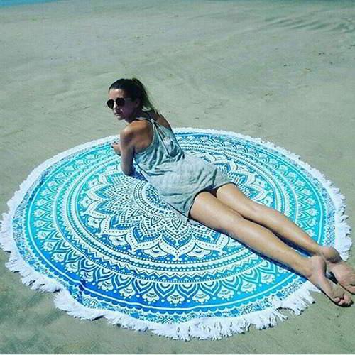 Flower Tassel Yoga Mat Shawl RC8A76 Blue 6pcs