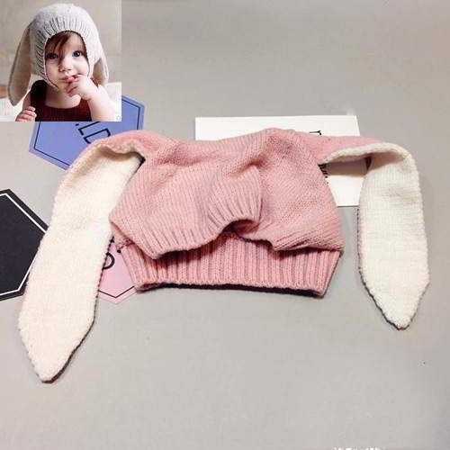 JRK Kids Bunny Ears Pure Color Baby Gorro RBED5B Pink 6pcs