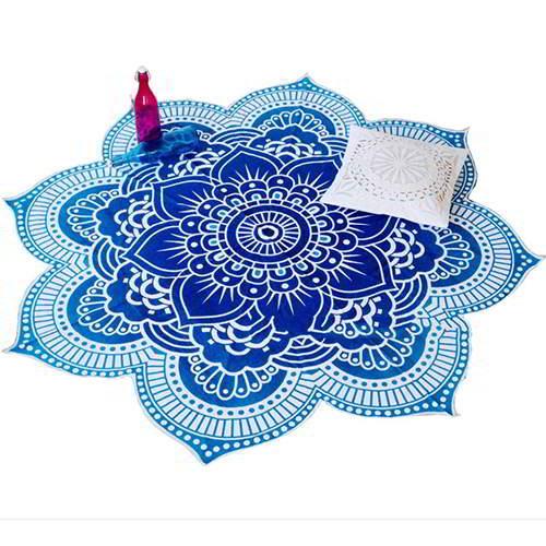 Flower Regular Yoga Mat Shawl RC8A6F Blue 6pcs