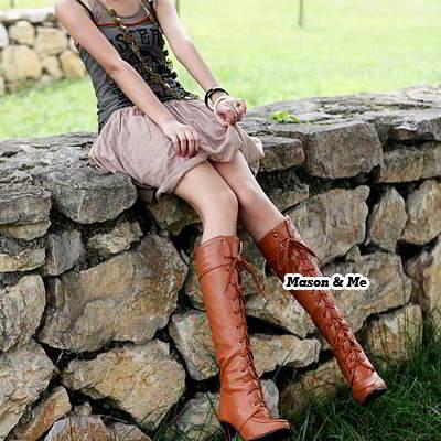 Lace Up Rivet High Heel Boots General SABFF6 Brown 6pcs