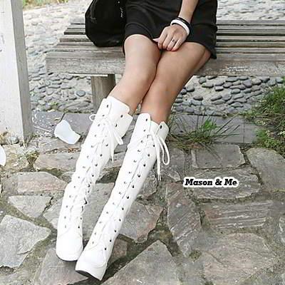 Lace Up Rivet High Heel Boots General SABFF5 White 6pcs