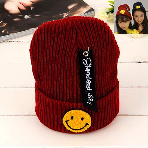 Smiling Face Pattern RBCBB5 Claret Red 6pcs