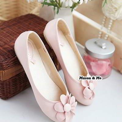 Round Head Flower Flats Shoes General SABF5C Pink 6pcs