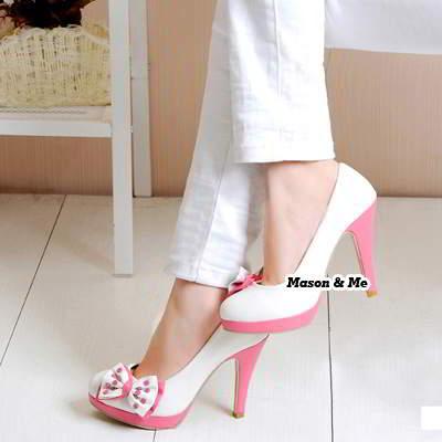 Bow Tie High Heel Shoes General SABF8E White 6pcs
