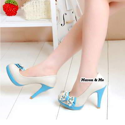 Bow Tie High Heel Shoes General SABF7F Blue 6pcs