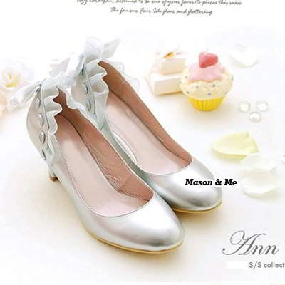 Bow Tie Middle Heel Shoes General SABF8A Silver 6pcs