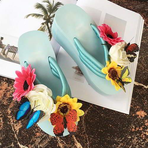 Flower Butterfly Wedge Blue RAEA5B 6pcs