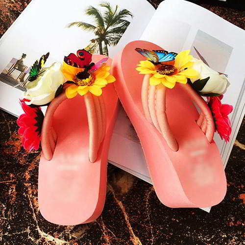 Flower Butterfly Wedge RAEA5D Pink 6pcs