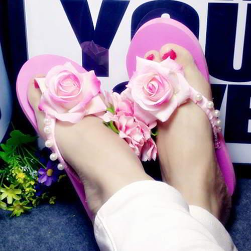 Flower Beach Shoes RAC78B Plum Red 6pcs