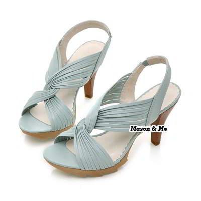 Weave Twisting Flower High Heel Sandals General SABFAA Blue