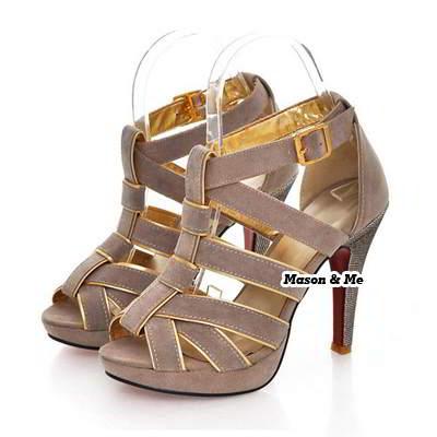 Color Matching Cross High Heel Sandal General SABFAC Apricot