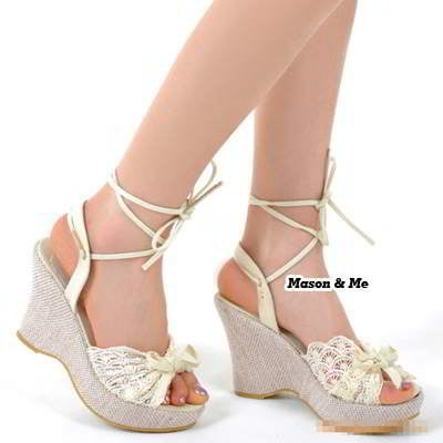 Lace Comtable Charm Wedge Sandals General SABF5F White
