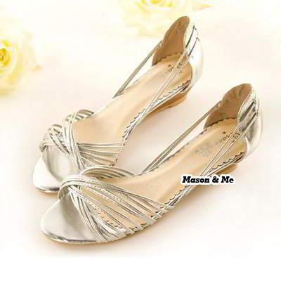 Ribbon Interlacing Wedge Sandals General SABF7B Silver