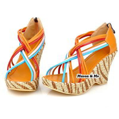 Candy Color Thin Ribbon Wedge Sandals General SABF7E Yellow