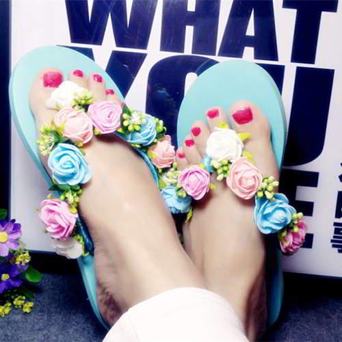 Flower Beach Shoes RAC78C Light Blue 6pcs