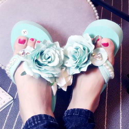 Flower Pearl Beach Shoes Light Blue 6pcs