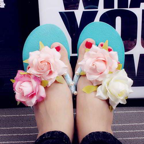 Flower Pearl Wedge Slipsole Beach Shoes RB6FF6 Blue 6pcs