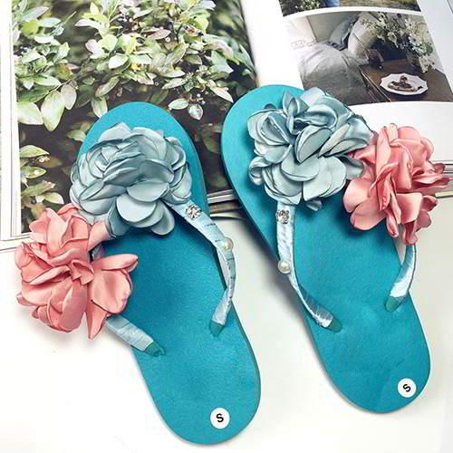 Flower Pearl Weave Beach Shoes RAEAAF Blue 6pcs