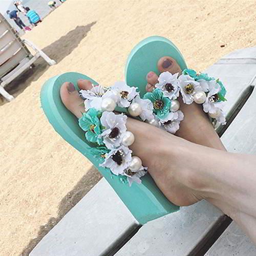 Flower Pearl Wedge Beach Shoes RAEAA6 Green Size 36 39 6pcs